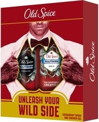 Old Spice Wolfthorn - dárková sada: deodorant ve spreji + sprchový gel