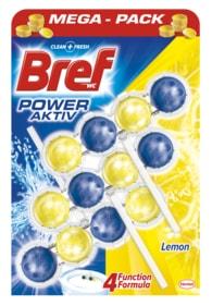 Bref Power Aktiv Lemon WC blok + 2 náhradní náplně 3x50g