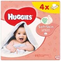 Huggies Soft Skin vlhčené ubrousky 4x56ks